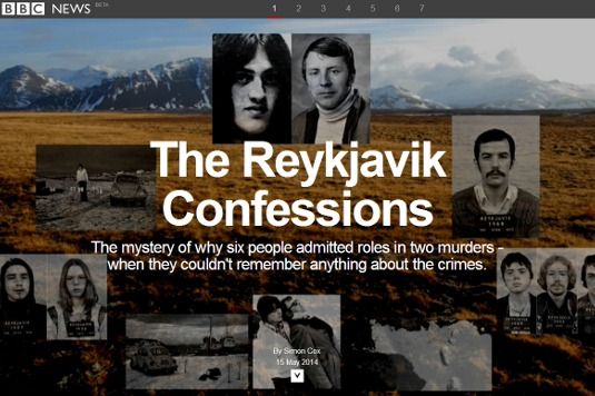 Example of parallax scrolling websites: The Reykjavik Confessions
