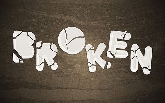 Typography tutorials: broken plate type effect