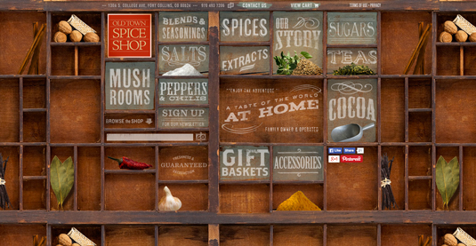 Spice shop homepage