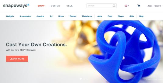Shapeways homepage