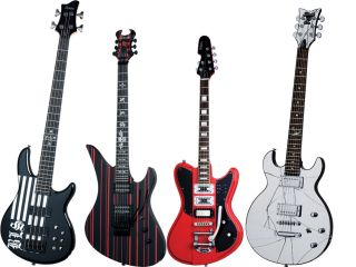 From left to right JD Bulcher Bass Synyster Gates Custom Robin Finck Ultra III and the Zacky Vengeance ZV Mirror