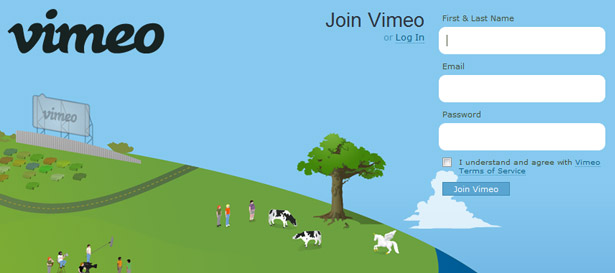 Animated cloud drifting behind Vimeo's sign-up form