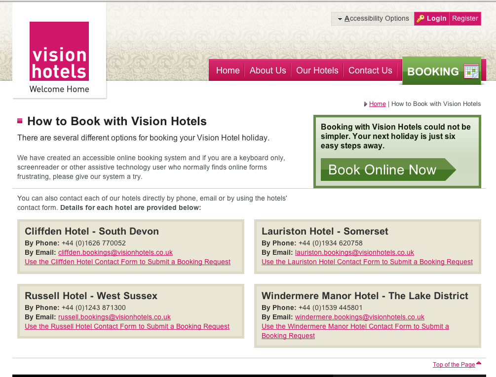 Vision Hotels home page