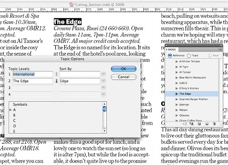 Create an index in InDesign: step 5