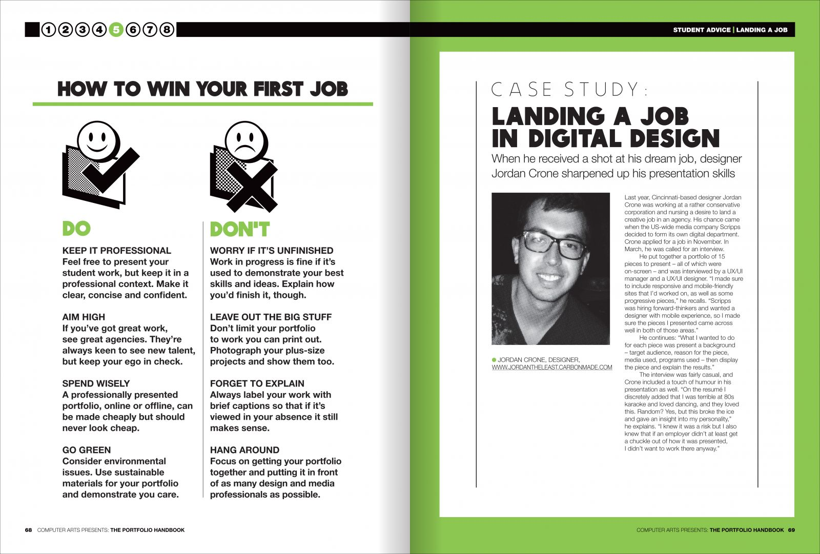 Spread from chapter five: how to win your first job
