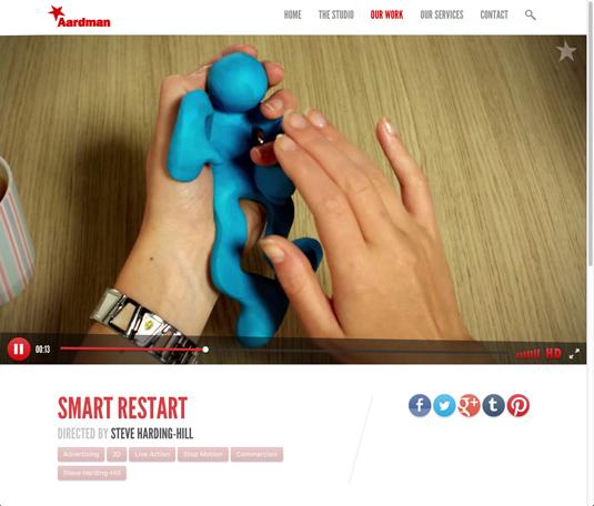 aardman website and stationary design