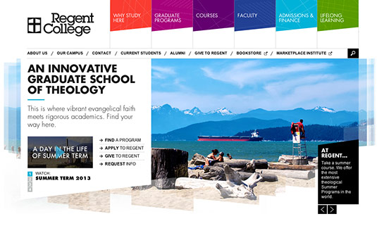 Sliders in web design: Regent College