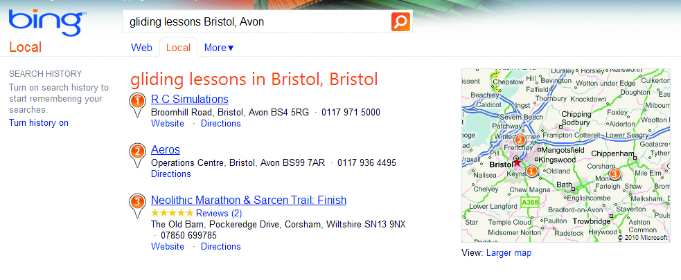 Bing's also been a big investor in maps and local search