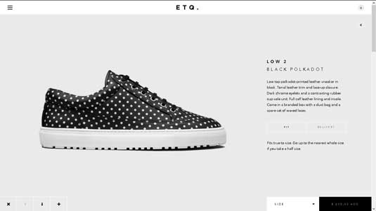A striking example of minimalistic design: footwear label ETQ's site