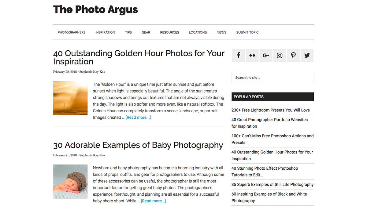 Photography websites: The Photo Argus