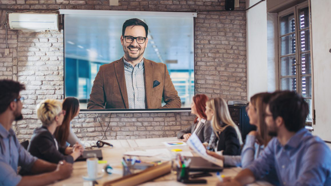 Video conference on projector