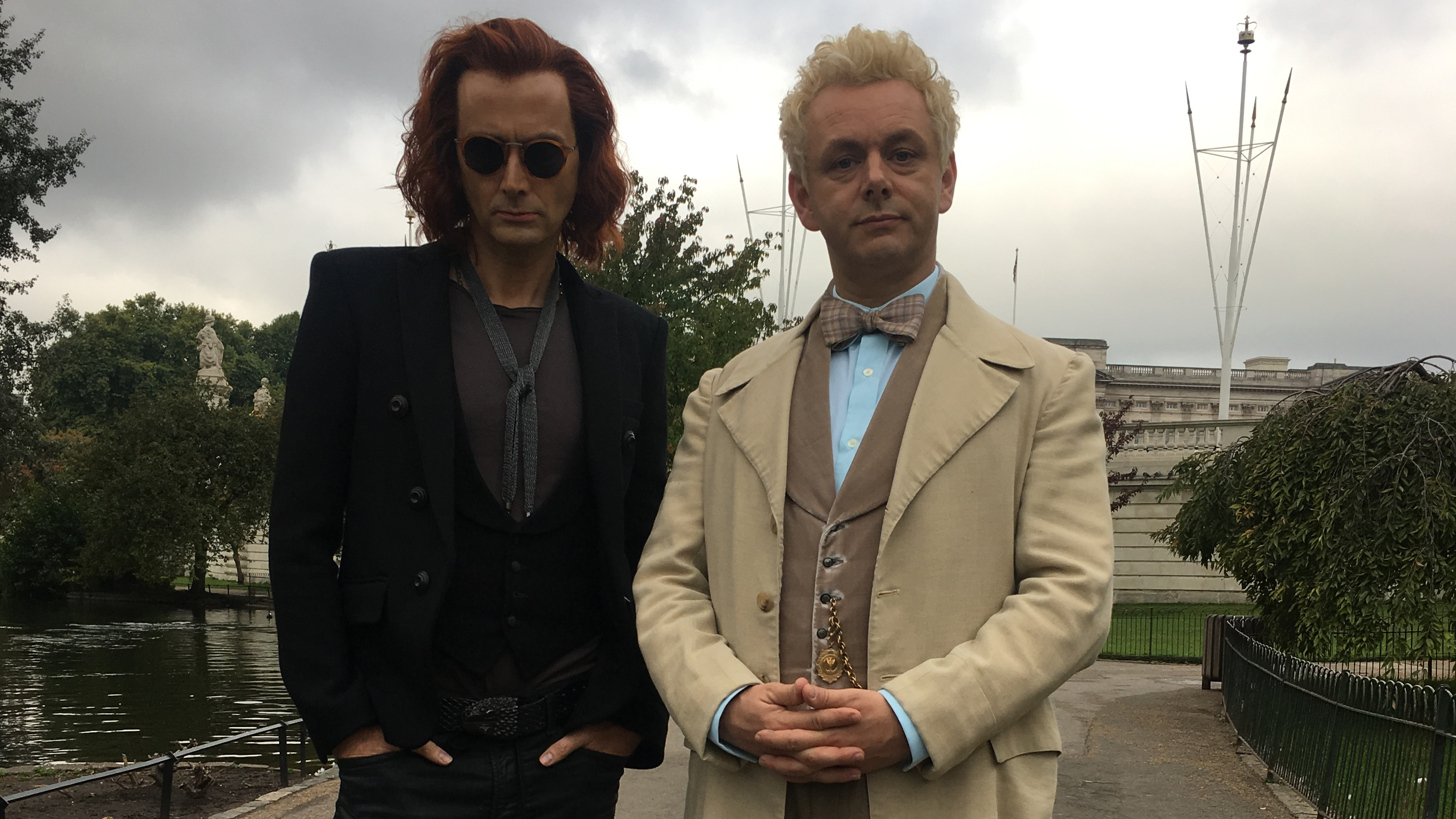 A behind-the-scenes look at Good Omens stars David Tennant and Michael Sheen