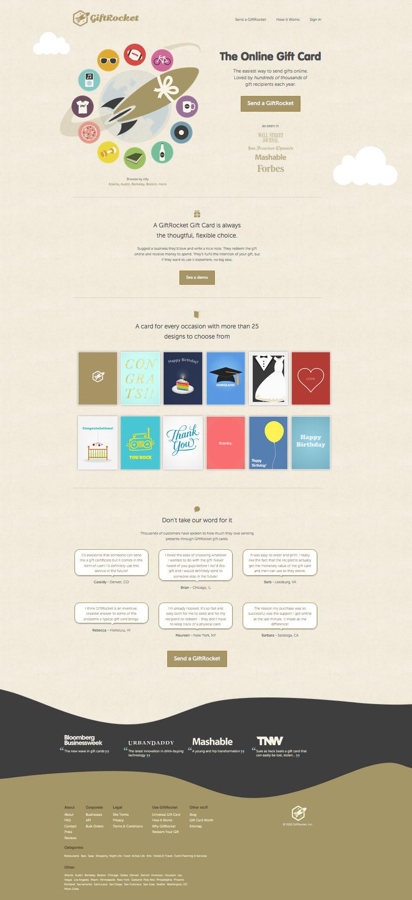 Landing page design: GiftRocket