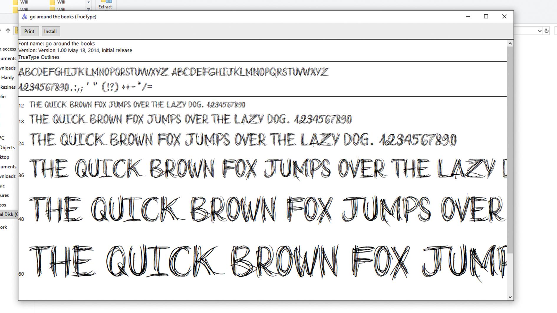 Installing font
