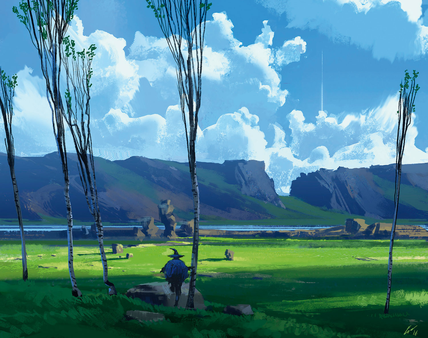 landscape scene with a wizard in it