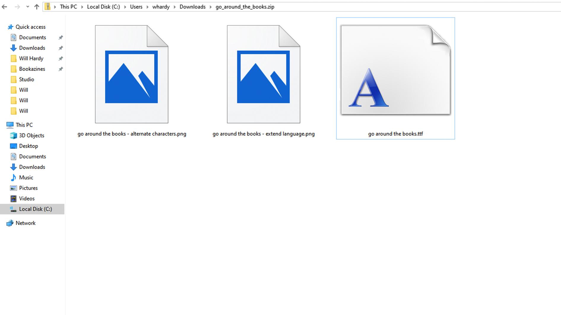 Font in Downloads folder