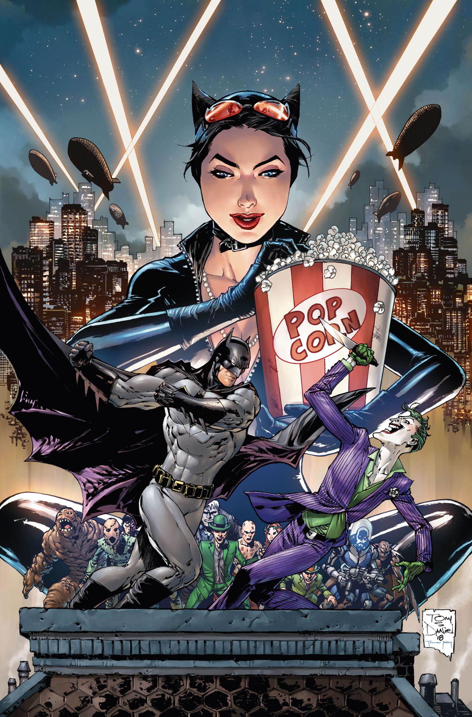 Catwoman feasts on pop corn as she watches Batman fight the Joker