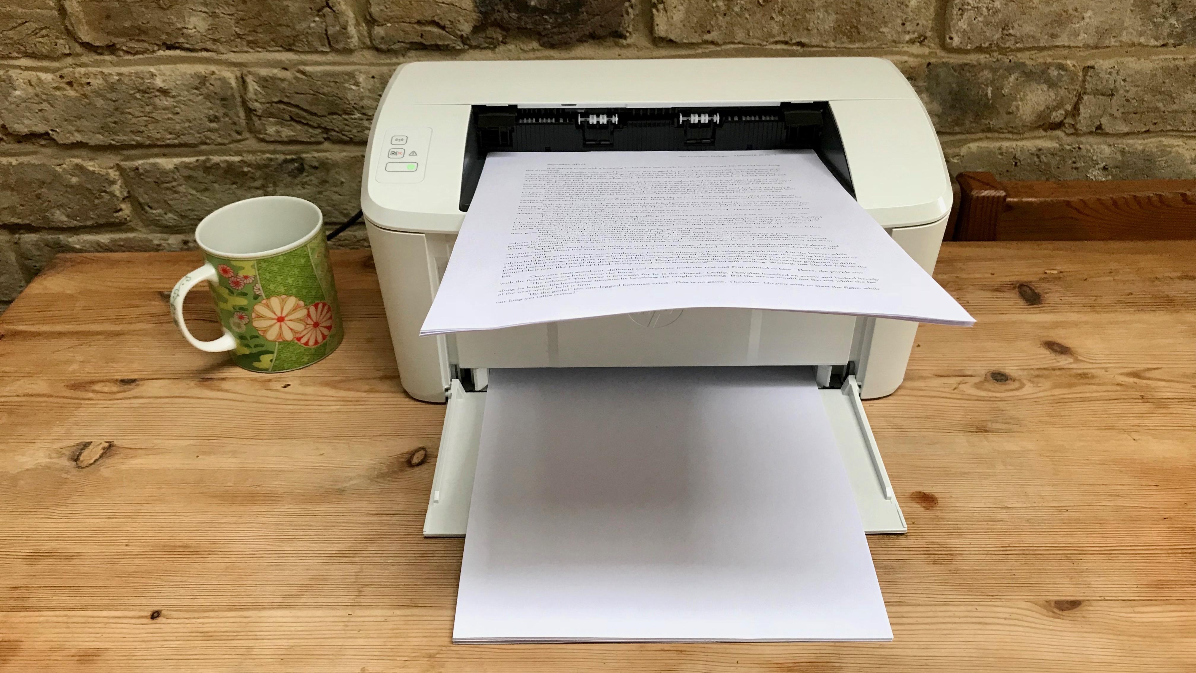 HP LaserJet Pro M15w  with paper