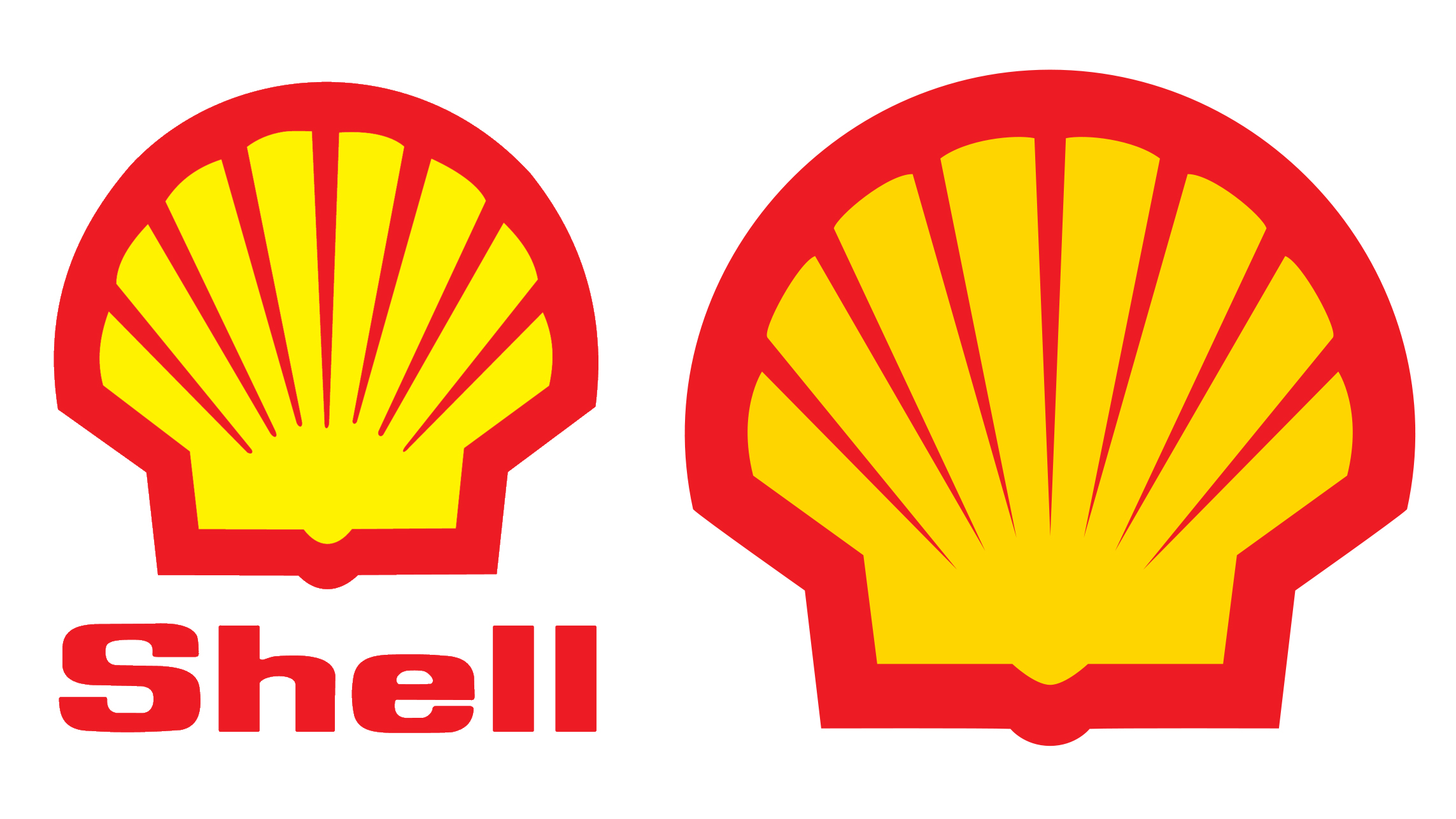 Shell logo before and after