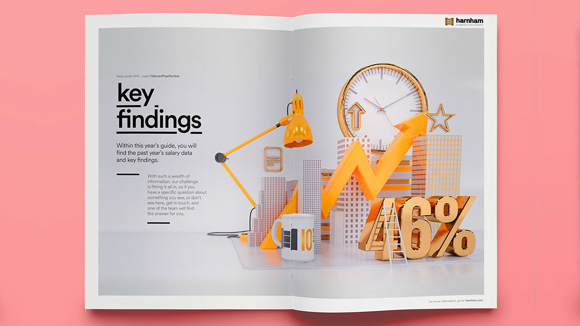 Annual report with photo of a model city, yellow and gold office equipment