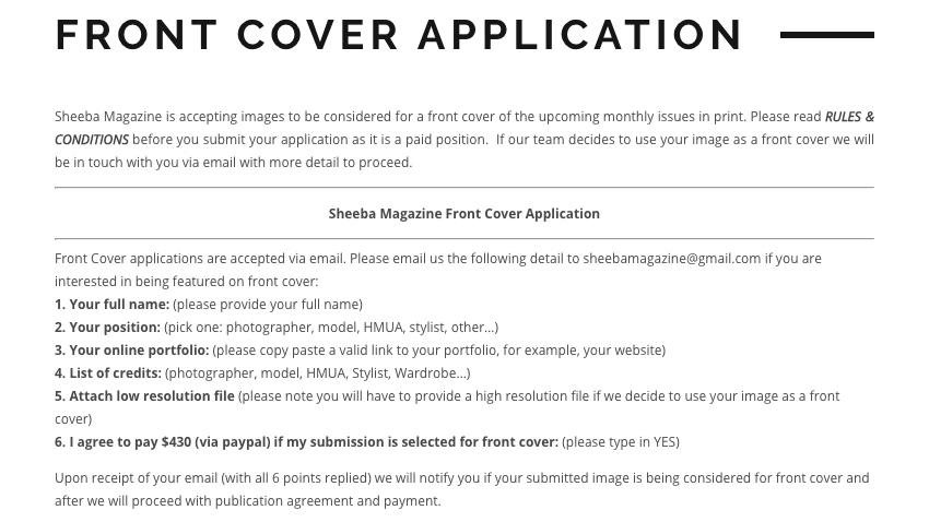 Obtenga su foto en la portada de una revista … y pague $ 430 por el privilegio