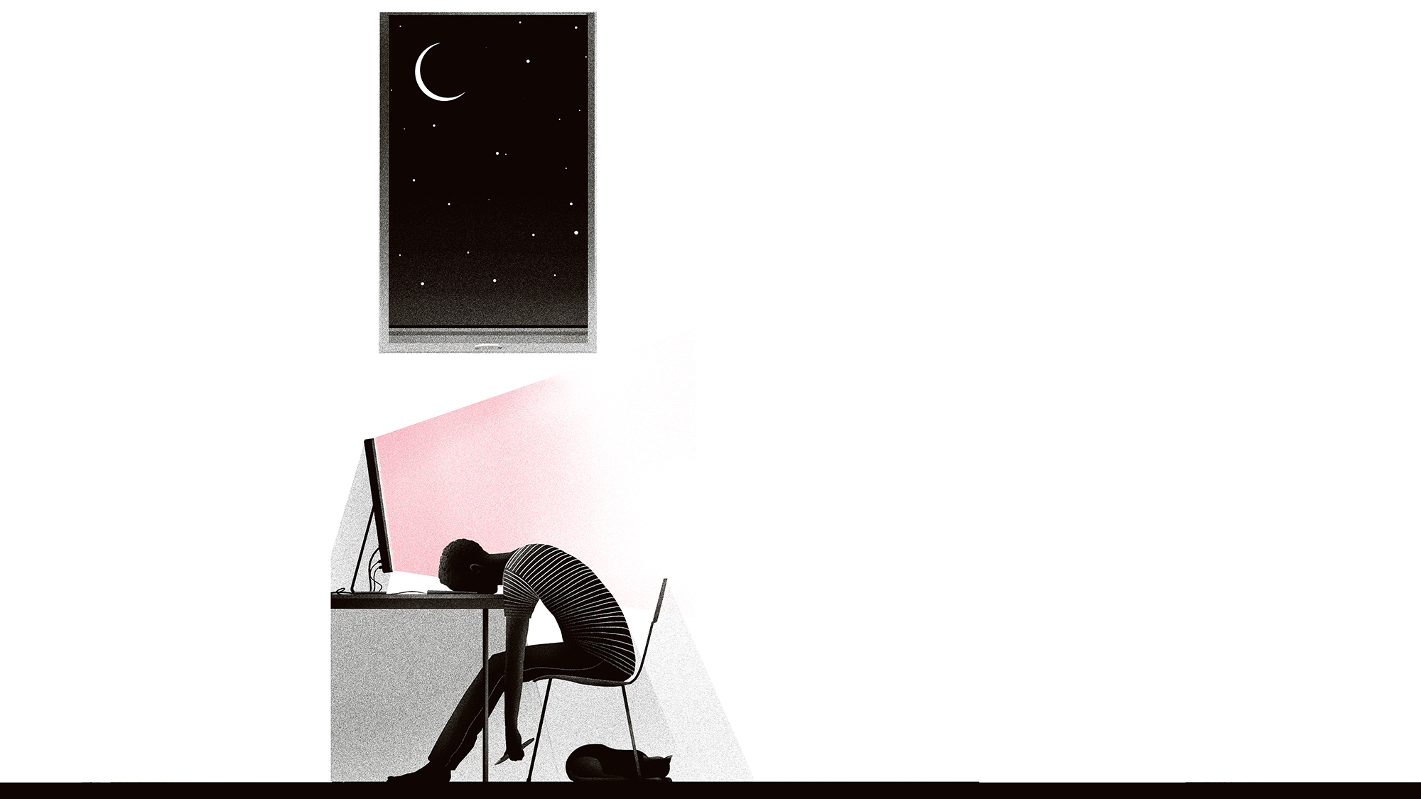 Daniel Stolle illustration man asleep at desk
