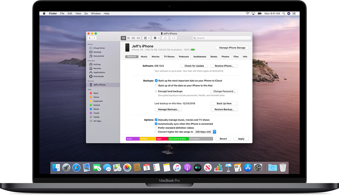 macOS 10.15 iPhone management