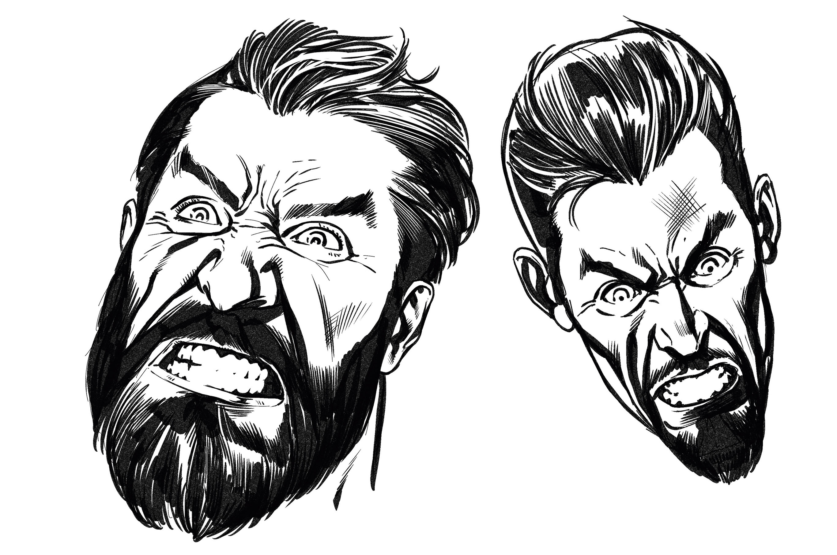 Two drawings of an angry looking man