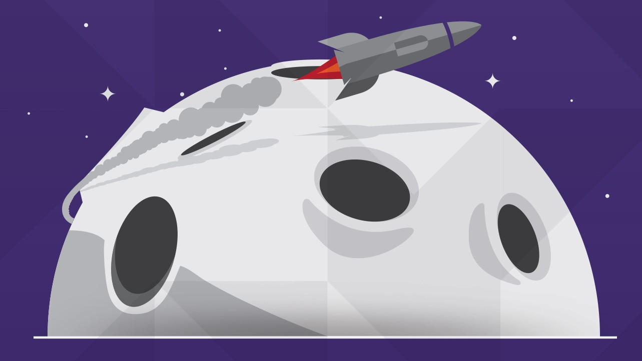 Cartoon of rocket leaving a cratered moon