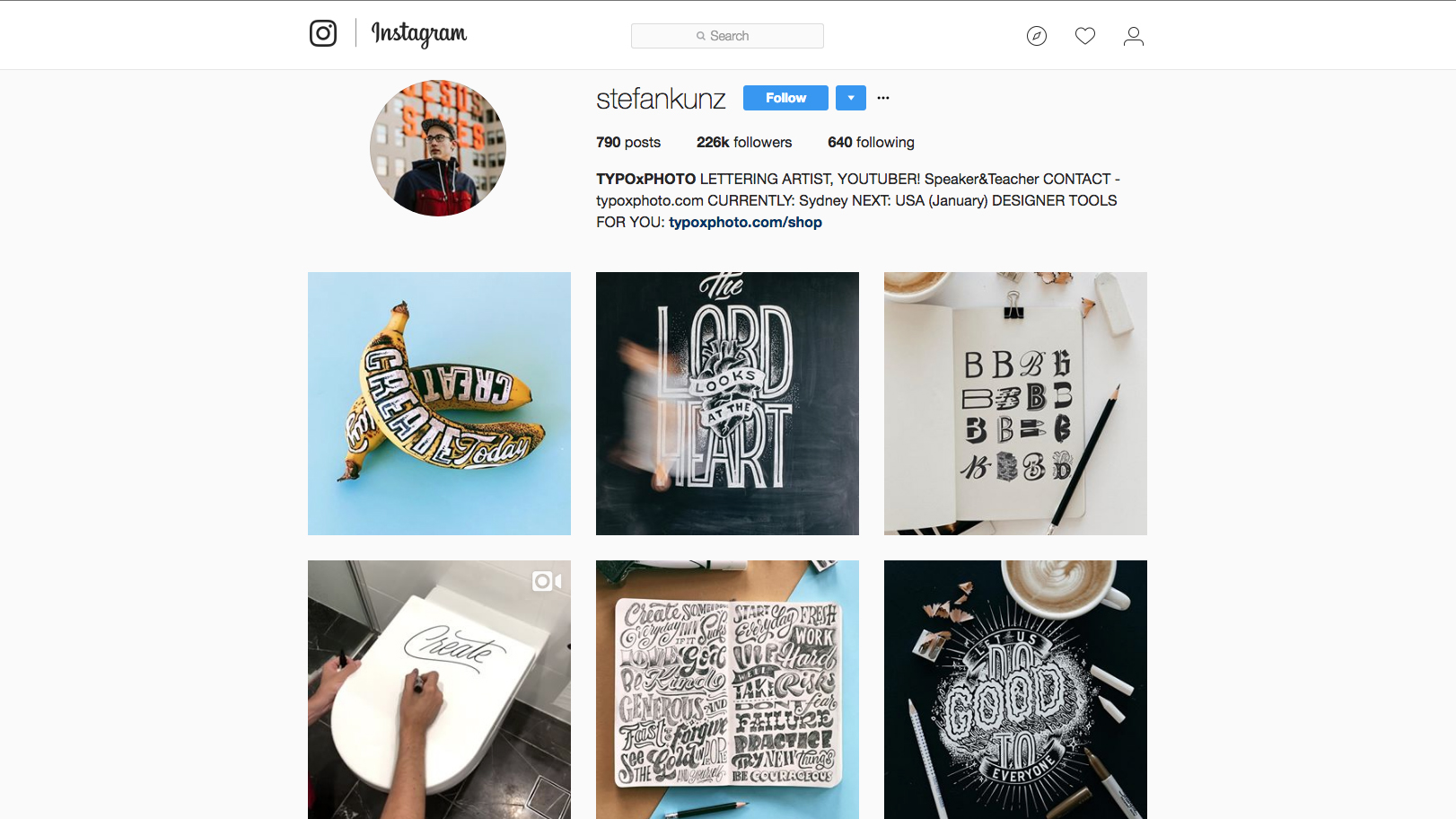 Stefan Kunz's Instagram page