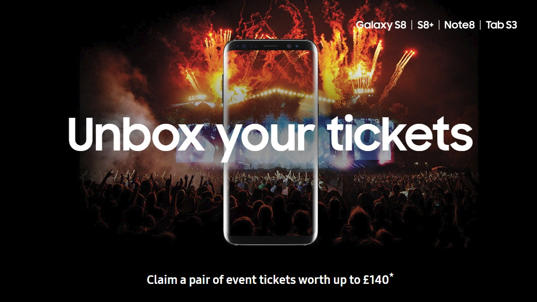 See how to claim two free gig tickets with Samsung Galaxy mobile phone deals