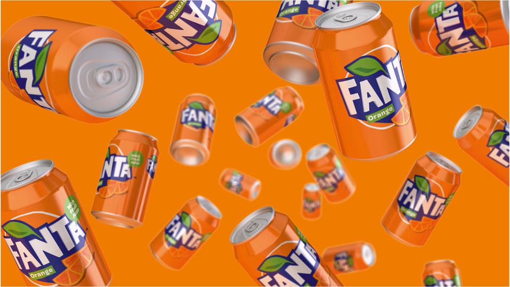 Tumbling cans of Fanta