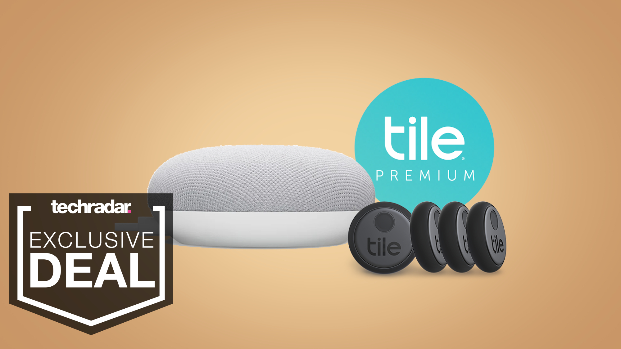 Get a free Google Nest Mini with a Tile Sticker four pack and a year of Tile Premium
