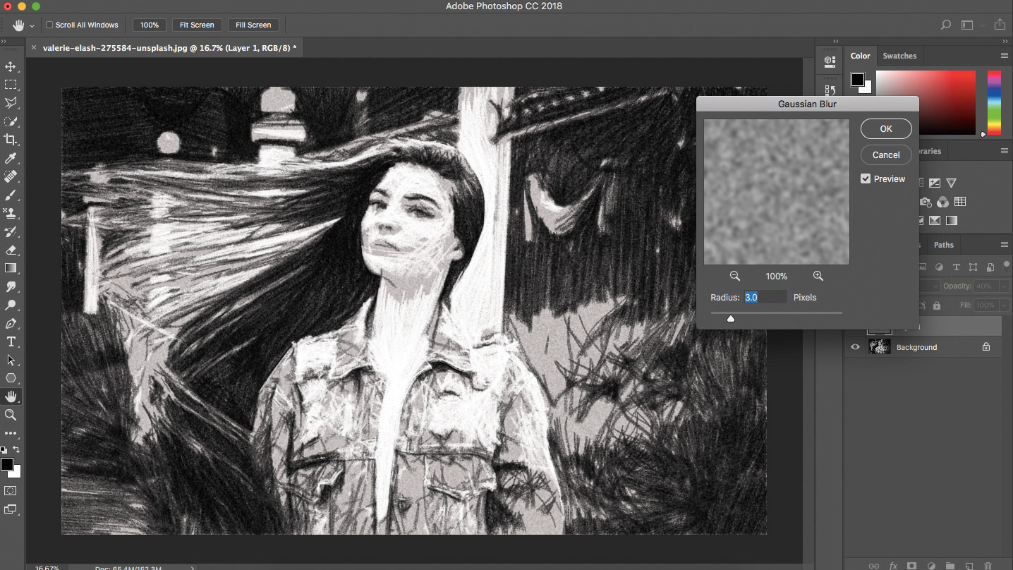 Photoshop with image of woman