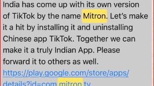 WhatsApp Message urging Indians to use Mitron App