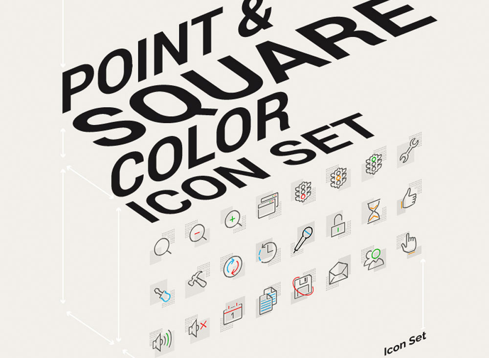 point and square colour icon set