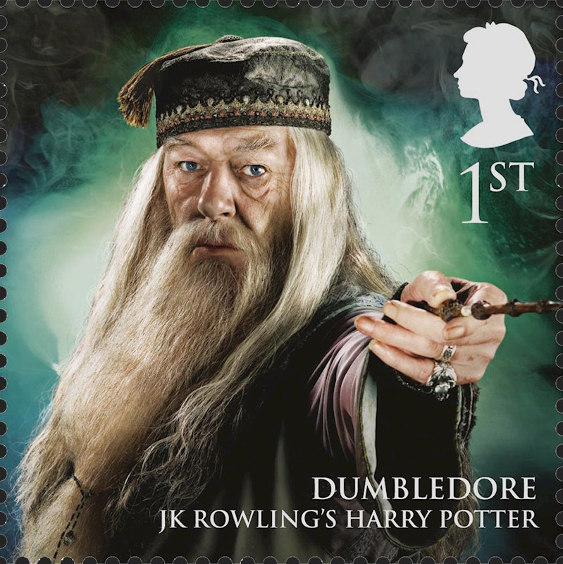 Stamp featuring Michael Gambon as Albus Dumbledore