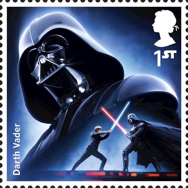 Stamp showing Luke Skywalker and Darth Vader in a light sabre duel