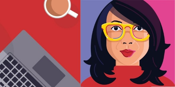 Cartoon of woman, laptop and coffee cup