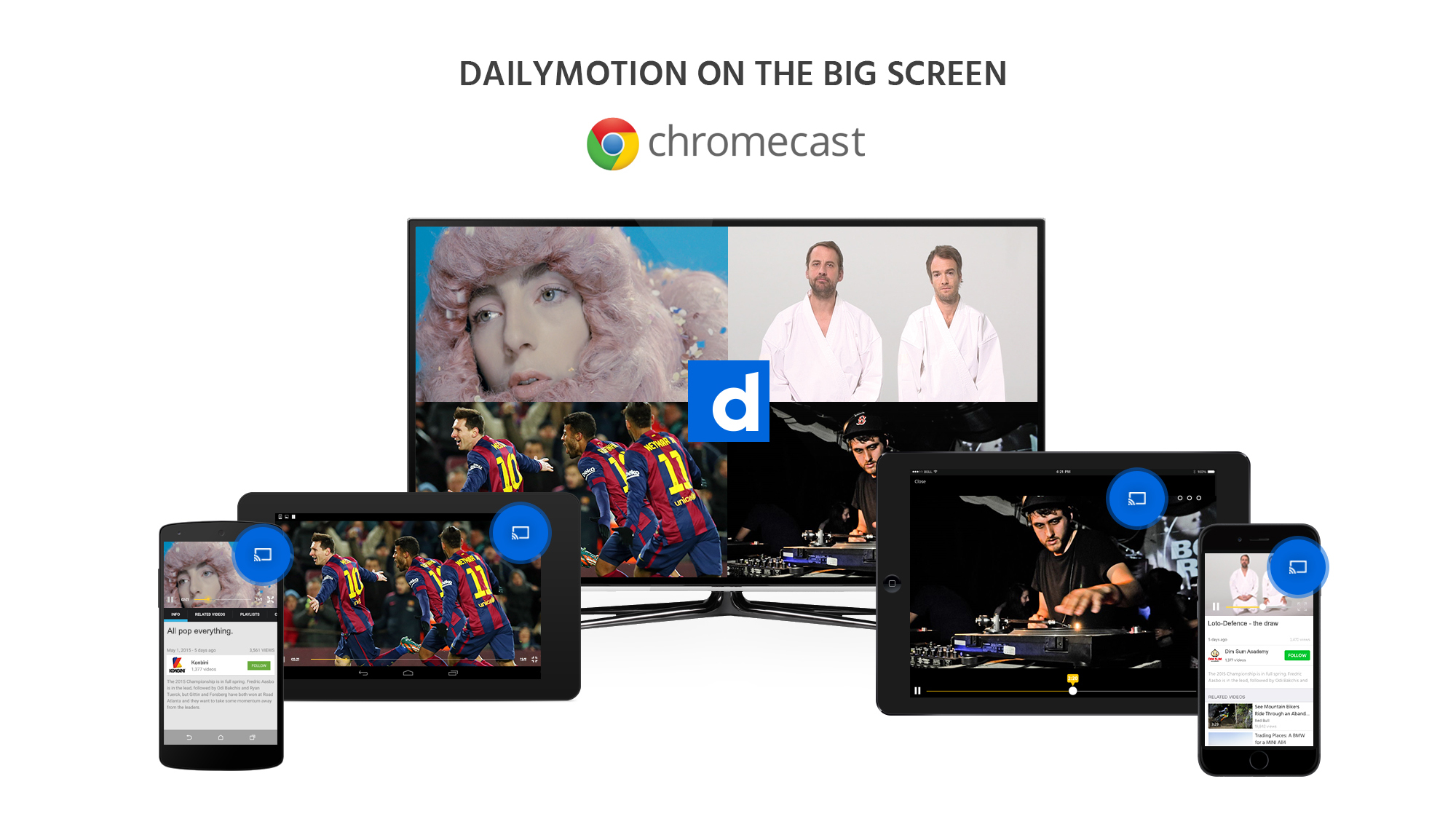 An image of Daily Motion being used on a number of devices