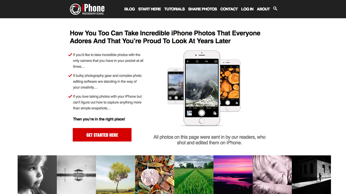 Photography websites: iPhone