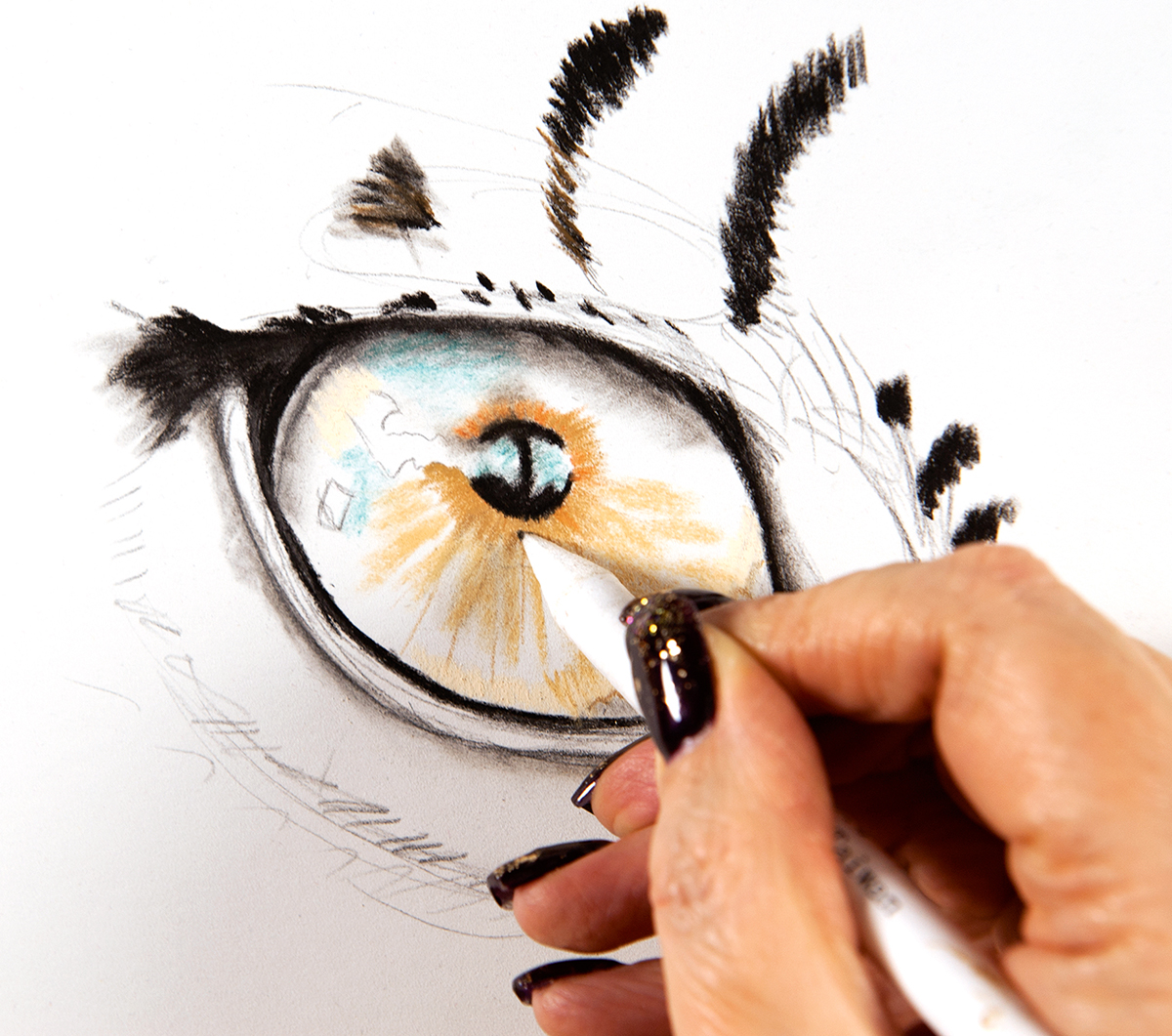 sketch of an eye with pupil coloured in