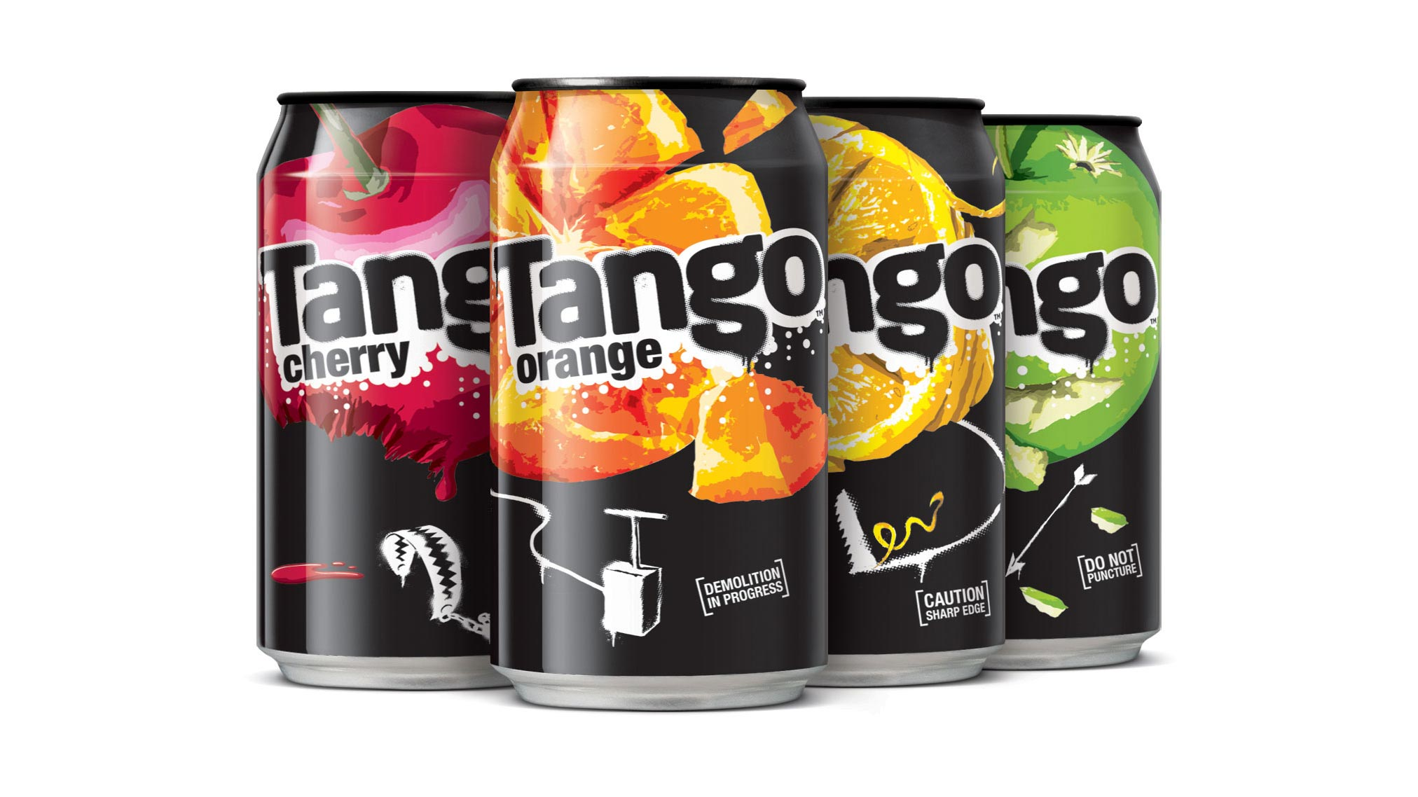 Kết quả hình ảnh cho image Although Tango uses classic colours to identify flavours, the logo and can design use unconventional black