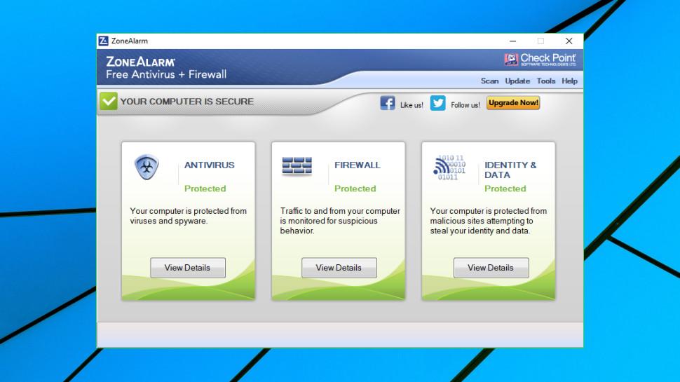 ZoneAlarm Free Antivirus console