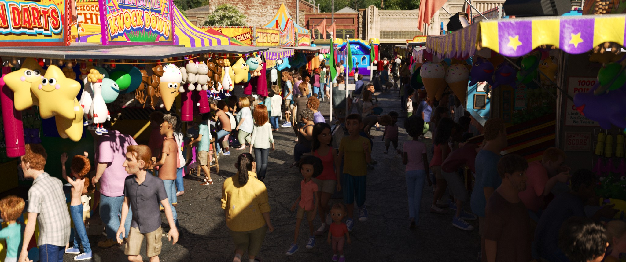 CGI scene of people enjoying a carnival in the daytime