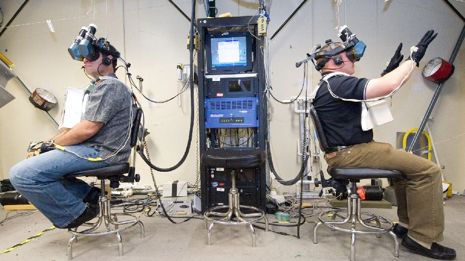 Nasa mission specialists training with VR headsets