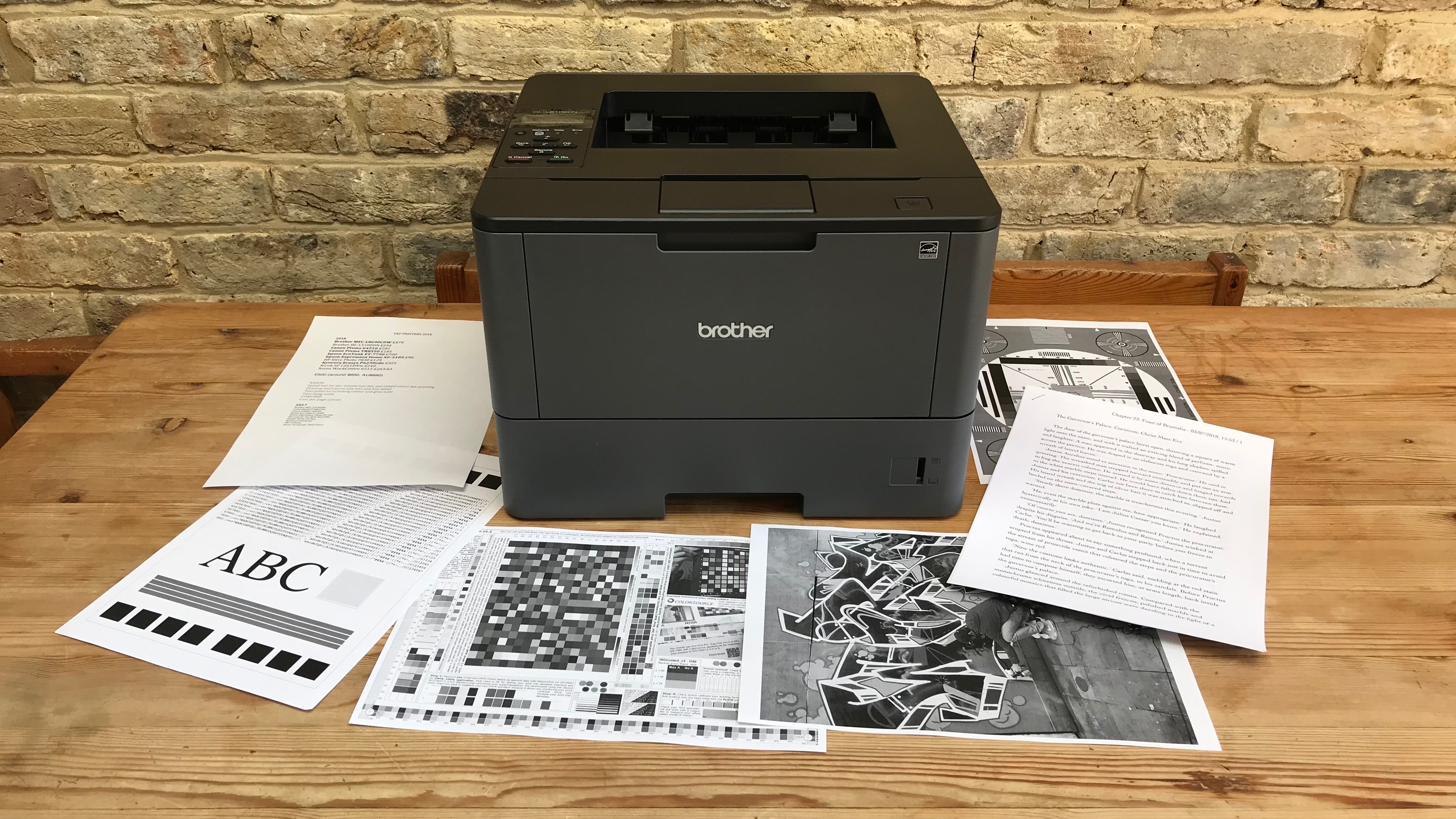Printer with test pages