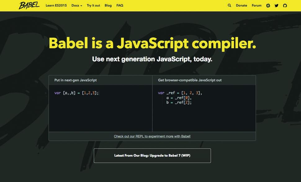screenshot of Babel website
