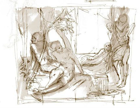 Black and white line drawing of four people relaxing