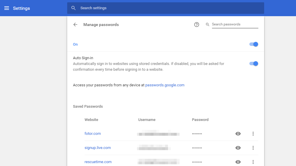 Password manager in Google Chrome